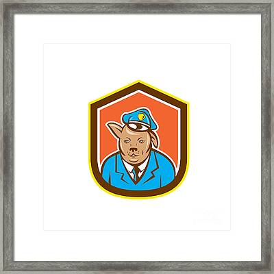 Police Dog Canine Shield Cartoon Framed Print by Aloysius Patrimonio