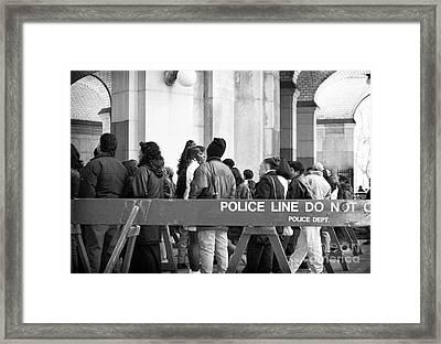 Police Line 1990s Framed Print by John Rizzuto