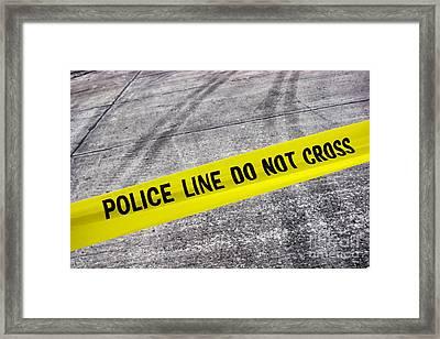 Police Line Framed Print by Olivier Le Queinec