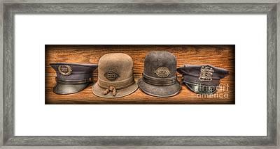 Police Officer - Vintage Police Hats Framed Print by Lee Dos Santos