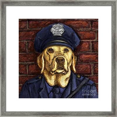 Police Officer Lab - Yellow Labrador Retriever Framed Print by Kathleen Harte Gilsenan