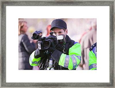 Police Photographing Protestors Framed Print by Ashley Cooper