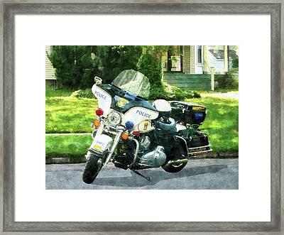Police - Police Motorcycle Framed Print by Susan Savad