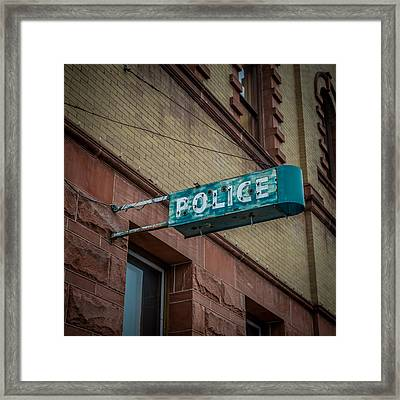 Police Station Sign Framed Print by Paul Freidlund