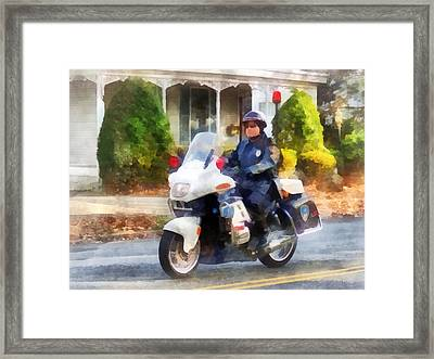 Police - Suburban Motorcycle Cop Framed Print by Susan Savad