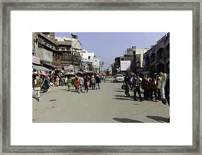 Police Vehicle And Barricades In Front Of Golden Temple In Amritsar Framed Print by Ashish Agarwal