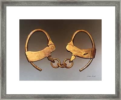 Police - Vintage Handcuffs Framed Print by Susan Savad