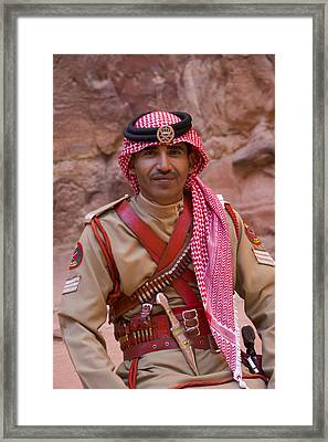 Policeman In Petra Jordan Framed Print by David Smith