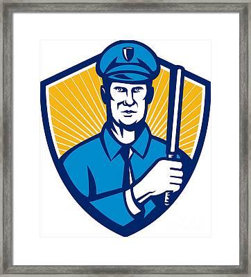 Policeman Police Officer Baton Shield Retro Framed Print by Aloysius Patrimonio