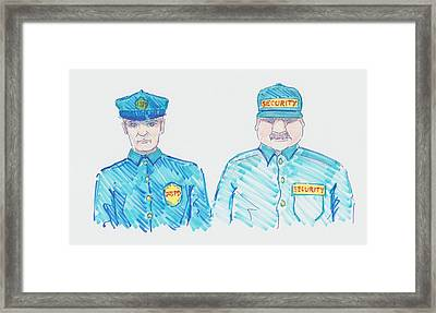 Policeman Security Guard Cartoon Framed Print by Mike Jory