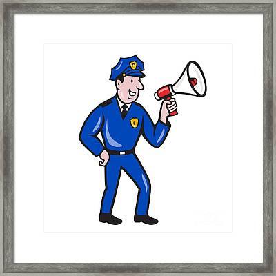 Policeman Shouting Bullhorn Isolated Cartoon Framed Print by Aloysius Patrimonio