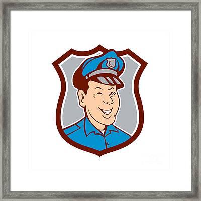 Policeman Winking Smiling Shield Cartoon Framed Print by Aloysius Patrimonio