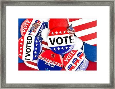Political Badge Collection Framed Print by Joe Belanger