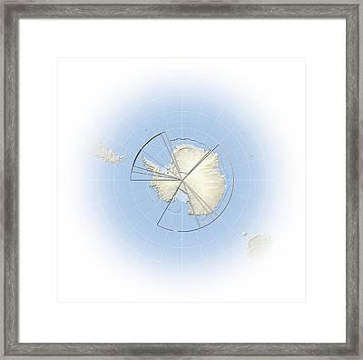 Political Map Of Antarctica Framed Print by Mikkel Juul Jensen