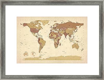 Political Map Of The World Map Framed Print by Michael Tompsett
