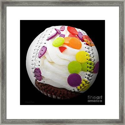 Polka Dot Cupcake Baseball Square Framed Print by Andee Design