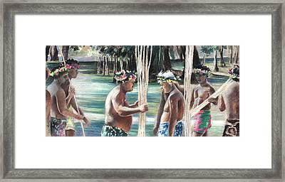 Polynesian Men With Spears Framed Print by Miki De Goodaboom