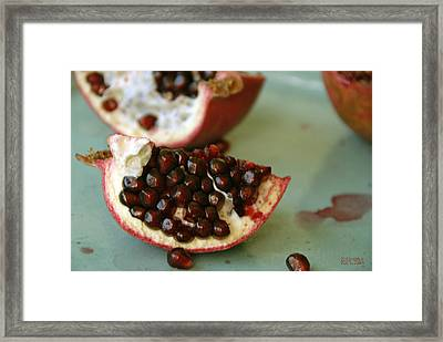 Pomegranate On A Celadon Plate Framed Print by Beverly Brown
