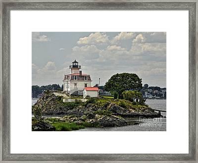 Pomham Rocks Lighthouse Framed Print by Nancy  de Flon