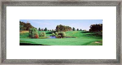 Pond At A Golf Course, Baltimore Framed Print by Panoramic Images