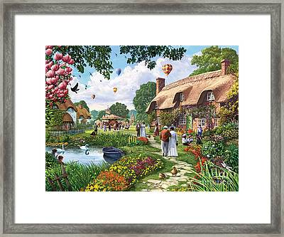 Pond Cottage Framed Print by Steve Crisp