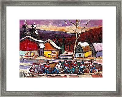 Pond Hockey Birch Tree And Mountain Framed Print by Carole Spandau
