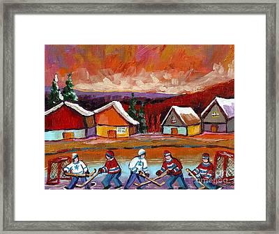 Pond Hockey Game 2 Framed Print by Carole Spandau