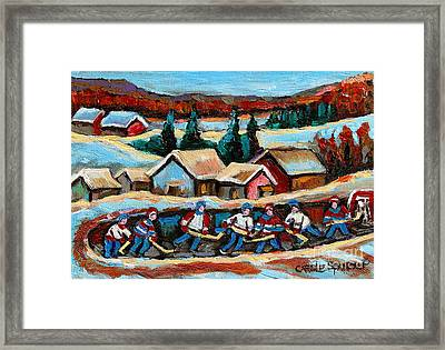 Pond Hockey Game In The Country Framed Print by Carole Spandau
