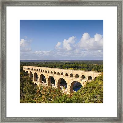 Pont Du Gard Roman Aqueduct Languedoc Roussillon France Framed Print by Colin and Linda McKie