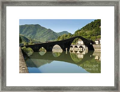 Ponte Della Maddalena  - Ponte Del Diavolo -crosses Serchio Rive Framed Print by Peter Noyce