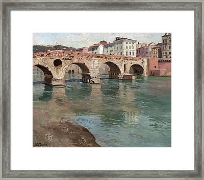 Ponte Pietra. Verona Framed Print by Frits Thaulow