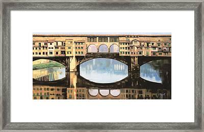 Ponte Vecchio A Firenze Framed Print by Guido Borelli