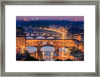 Ponte Vecchio After Sunset Framed Print by Henk Meijer Photography
