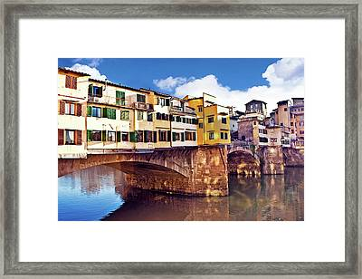 Ponte Vecchio And Arno River, Florence Framed Print by Miva Stock