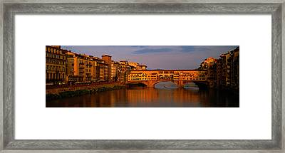 Ponte Vecchio Arno River Florence Italy Framed Print by Panoramic Images