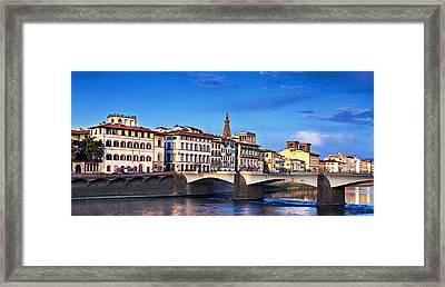 Ponte Vecchio Bridge At Twilight Framed Print by Susan Schmitz