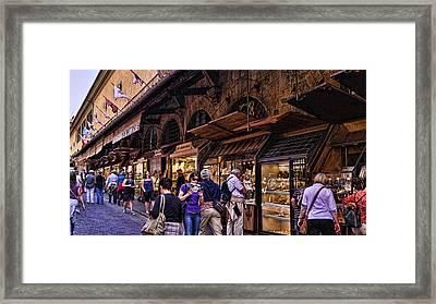 Ponte Vecchio Merchants - Florence Framed Print by Jon Berghoff