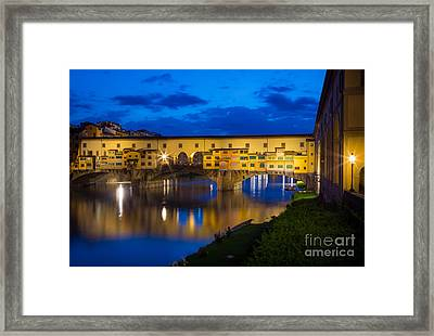 Ponte Vecchio Reflection Framed Print by Inge Johnsson