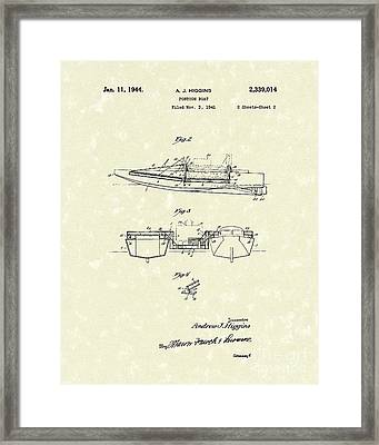 Pontoon Boat 1944 Patent Art Framed Print by Prior Art Design