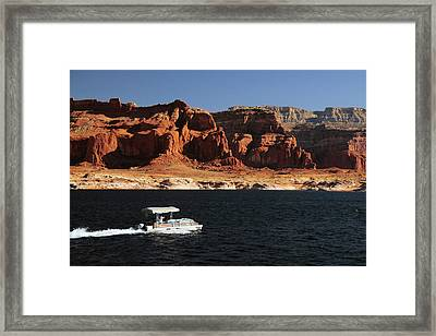 Pontoon Boat On Lake Powell, Glen Framed Print by Michel Hersen