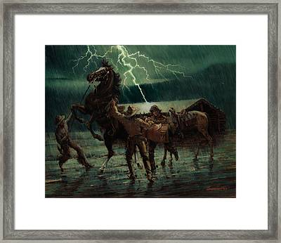 Pony Express In Rain Framed Print by Don  Langeneckert