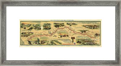Pony Express Map William Henry Jackson Framed Print by William Henry Jackson