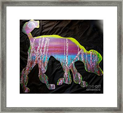 Poodle Cutout With Birch Framed Print by Jacqueline Athmann