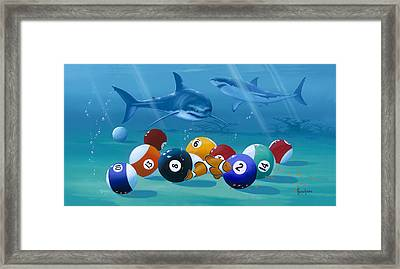 Pool Sharks Framed Print by Kenneth F Aunchman
