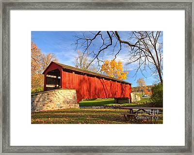 Poole Forge Covered Bridge - Lancaster County Framed Print by Adam Jewell