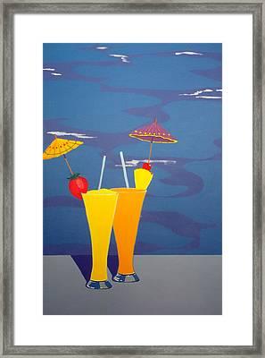 Poolside Umbrella Drinks Framed Print by Karyn Robinson