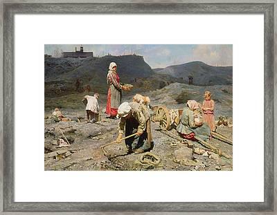 Poor People Gathering Coal At An Exhausted Mine Framed Print by Nikolaj Alekseevich Kasatkin