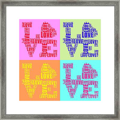 Pop Love Collage Framed Print by Delphimages Photo Creations
