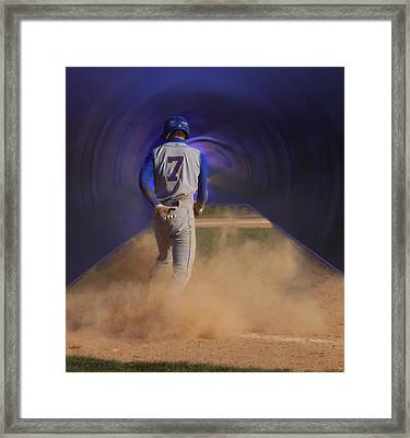 Pop Slide At Third Base Framed Print by Thomas Woolworth
