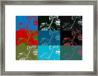 Popart Motorbike Framed Print by Toppart Sweden